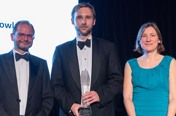Paul Mason with Academic Entrepreneur of the Year, Tuomas Knowles and Anne Dobrée of Cambridge Enterprise