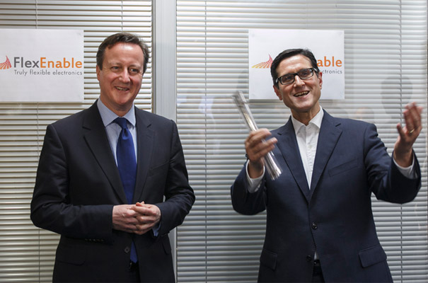 PM David Cameron is shown FlexEnable technology by Indro Mukerjee