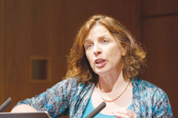 Susan Galbraith of AstraZeneca addressing delegates at the ON Helix conference at the Wellcome Trust Genome Campus on July 9, 2013