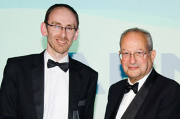 Graham Budd of ARM with Lord Sainsbury at the Business Weekly Awards. Photograph by Alan Bennett/Media Imaging Solutions