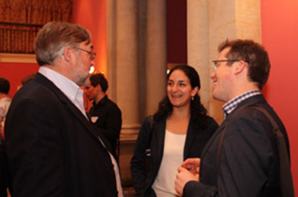 Professor Douglas Kell, Chief Executive of BBSRC (left) with Halima Khan Director of the Public Services Lab, NESTA and Policy Fellow at the Centre for Science and Policy, Cambridge and Prof James Wilsdon of SPRU, University of Sussex (right). Image: SymBLS/Nelly Olova