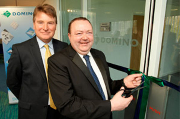 Domino managing director Nigel Bond with long-serving employee, Barry Few