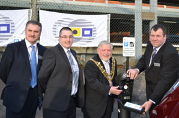 (L-R) Andrew Harston, port development director for Hutchison Ports (UK) Ltd; Trevor Wickham, sales manager for Glyn Hopkins Nissan; Barry Brown, Mayor of Harwich and Stewart Bethell, scheme coordinator for Hutchison Ports (UK) Ltd.