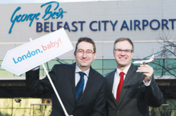 Julian Carr, bmibaby's MD with Raymond McNair, director at Belfast City Airport