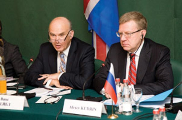 Vince Cable (left) during his three-day visit to Moscow