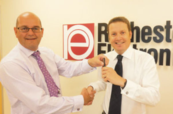 Michael Eyres, MD of Artisan (UK) Developments Ltd handing over the keys of Unit 2 Fenice Court, Eaton Socon, St Neots to Colin Strother, general manager for Rochester Electronics' EMEA.