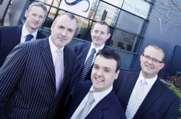 Key figures at the opening of Streets' new Stevenage office. Front left - Paul Tutin, chairman and managing partner of Streets with Stephen McPartland MP for Stevenage. Back row, Streets' partners Richard Couchman, Jonathan Day and Simon Hodgkin.