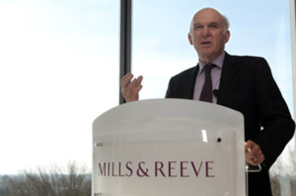 Vince Cable at Mills & Reeve's Cambridge HQ