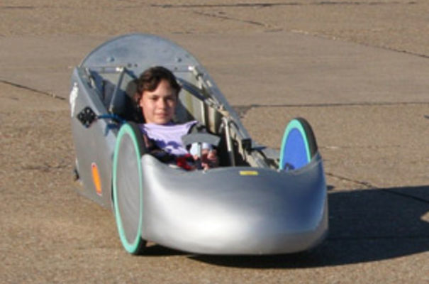Kitty Foster tests the small proof-of-concept car