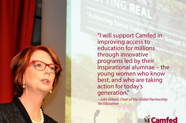 Julia Gillard, chair of the Global Partnership for Education, becomes patron and adviser to Cambridge-based charity Camfed