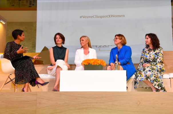 Enterprise uncorked: Poppy Gustafsson (second left) and Sherry Coutu (second right) share the winners' platform at the Veuve Cliquot event
