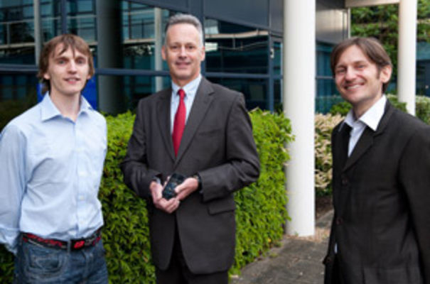 Magicsolver's Oliver Lamming (left) with coach Tony Wilson (centre) and Emmanuel Carraud of Magicsolver (right)