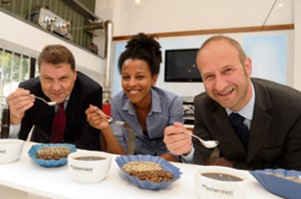 From the left, Andy Fawkes (Masteroast), Marie-Anne Rogers (trainee buyer at Masteroast) and Steve Woods (Clydesdale Bank)