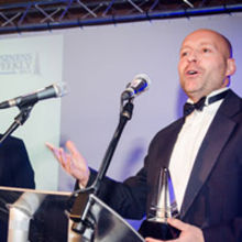Ian Pratt of Bromium with the Startup of the Year award. Photograph by Alan Bennett, Media Imaging Solutions