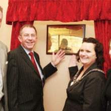 Bill Saxby, Brian Homewood, Councillor Gail McDade, Mayor of Corby Borough and Louise Mensch MP.