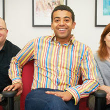 Brownstone director David Jabbie (centre) with Jez Arnold (technical) and Beckee Nicol (account manager)