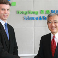 E. Anthony Tan, CEO of Hong Kong Science and Technology Parks Corporation welcomes David Baillie, CEO of CamSemi, to the company's new offices.