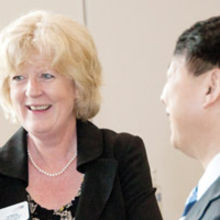 Liz Basing, international trade director for UKTI in the East of England, with leading Chinese diplomat, Zhou Xiaoming