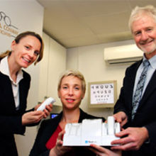 Dipple and Conway director Robert Conway with optometrists Alison Blake and Lizelle De Bruin