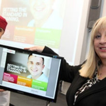 Liverpool Community College principal, Elaine Bowker, with apprentice Kyle Humphreys