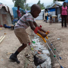 Haiti - the reality of life for local children. Pics must carry: Image copyright CBM.