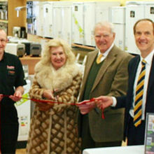 (from left to right) Lowestoft branch manager, Kevin Booth; Phyllis Spratt, Jim Hughes, Robert Hughes