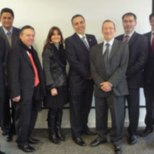 (From left to right) Carlos Lopez (IfM), Dr Jose Rosas (Programme coordinator Mexico-Cambridge project in technology transfer), HE Ambassador Medina Mora, Mrs Alexandra Hass, Director Promexico UK, Secretary of Economy Bruno Ferrari, David Probert, Finbarr Livesey, Victor Ortiz (IfM) Gustavo Hernandez, Technical Secretary, Secretary of Economy