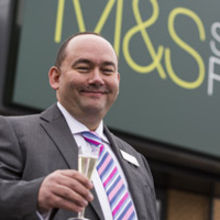 Store manager Mike Humphreys opens the new M&S Simply Food at Martlesham Heath Retail Park