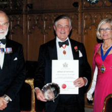 Sir Michael Marshall was presented with the Award of Honour from Livery Company, the Honourable Company of Air Pilots. He is pictured with Prince Michael of Kent and Dorothy Saul-Pooley, Master of The Air Pilots.