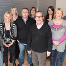 Alistair Wayne (foreground) with Media Managers team in Cambridge