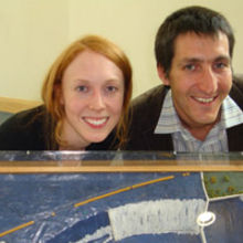 Sheffield soft launch - Caption: Emily Mackay founder of Microgenius and Mark Wells, business and funding director at Sheffield Renewables with a model of the planned Jordan Dam Hydro Power Initiative.
