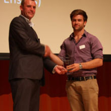 Double winner Fraser Atkins of MyTeech (right) with Nick Wood from Red Gate Software