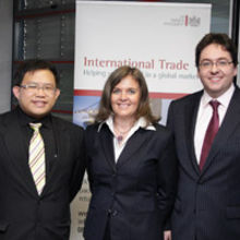 Amanda Brooks, Deputy High Commissioner for UKTI in Singapore with Bryan Tan (left) partner at Keystone Law Corporation (Taylor Vinters' partner in Singapore) and Matt Meyer, CEO of Taylor Vinters.