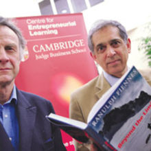 Sir Ranulph Fiennes (left) with CfEL director, Shai Vakarnam, at Enterprise Tuesday. Photograph by Philip Mynott