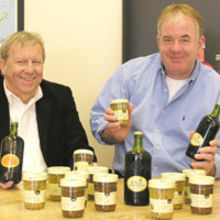 Rick Sheepshanks (right), MD of Stokes Sauces, and Colin Cordy MD of St Peters Brewery