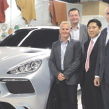 Pictured at the launch of the Hemera are (left to right) Johnny Herbert, Ian Croft (Streets), Kenny Chen (Eterniti Motors) and Paul Tutin, streets chairman and managing partner.