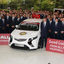 The England soccer squad visiting lead sponsor Vauxhall Motors