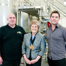 Pictured left to right: Hamish Pye, head yoghurt maker, Shelagh Hutson, vice-chairman of Norfolk County Council, Mark Collins, the company's general managerat the new factory in Beckhithe.