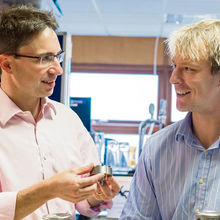 Jeremy Carey (left) talking with Tom Hellier, one of the company's mechanical engineers in its R & D laboratories