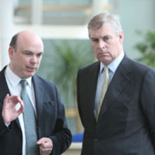 The Duke of York with entrepreneur Mike Lynch during a visit to Cambridge