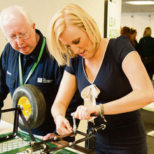 Steve Chicken demonstrating Lean training to BBC presenter Steph McGovern at EEF's annual conference earlier this year