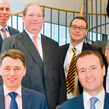 At the Cambridgeshire Ltd 2015 results event. Front row: David Newstead, Grant Thornton (left) and Paul Naylor, practice leader, Grant Thornton Cambridge. Back row, left to right: Paul Brown, Grant Thornton; Christopher Walkinshaw, Marshall Group; Neil Darwin, Greater Cambridge Greater Peterborough LEP and Nicholas Bewes, Howard Ventures.