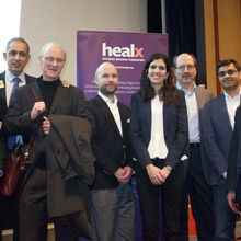 The Healx team with dignitaries at a CfEL Enterprise Tuesday event