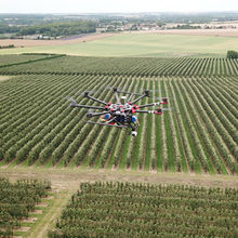 Outfield Drone in flight over Orchards, Kent, late spring 2019