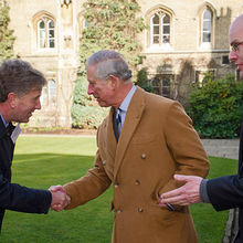 John Pearson of Bidwells with HRH The Prince of Wales and Ian Wright of Peterhouse College, Cambridge