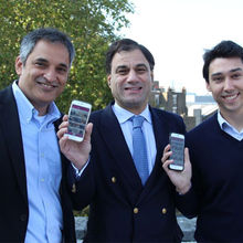 PictoSo  chairman Lord Karan Bilimoria (centre) with co-founders Rashid Bilimoria (left) and CTO Philipp Reisinger