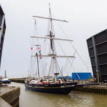 The Young Endeavour sailing back into the Port of Lowestoft