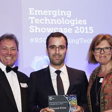 Steve Pleasance (RSC Industry Manager) pictured left with one of the Cambridge winners David Fairen-Jimenez and guest speaker Sherry Coutu