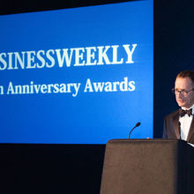 Tony Purnell at the Business Weekly Awards